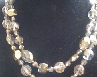 Gold Crystal Necklace Earrings Vogue 1950s
