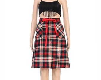 Vintage 70s Tartan Plaid Skirt - Reversible Skirt - Red Wool Skirt - High Waist Wrap Skirt - 1970s Hippie Skirt - Small S