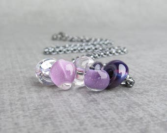 Ombre Purple Necklace, Lampwork Necklace Purple, Aubergine Amethyst Lilac Lavender Thistle, Purple Bead Bar, Oxidized Sterling Silver