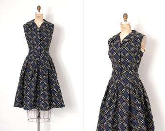 vintage 1960s skirt set / woven plaid 60s two piece set  / navy blue and yellow
