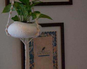 ceramic planter -  Hanging planter - rustic modern - Indoor Planters - hanging plant pot - white ceramic pot