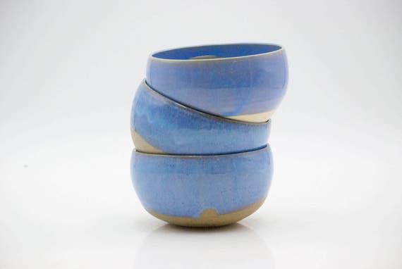Soup bowls  - Ceramic bowl set - Blue ceramic bowls - Cereal bowl - ceramic pasta bowl  - 10 oz bowl - Pottery serving bowl -