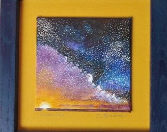 "Acrylic Painting ""Milky Way"" 4 x 4 framed"