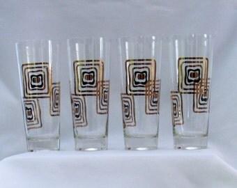 4 Vintage Hollywood Regency Gold & Black  Cocktail  Glasses Mid Century Modern Geometric Atomic Motif  Mad Men Chic