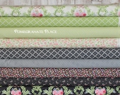 9 fat quarter bundle GUERNSEY in leaf and charcoal .. Brenda Riddle Designs .. Moda fabric .. green and grey, black colorways