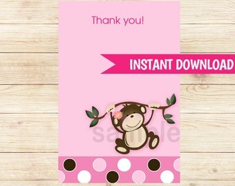 Monkey Play Pink Girl Matching Flat Card Thank you Note, Size 4x6, INSTANT DOWNLOAD bs-077