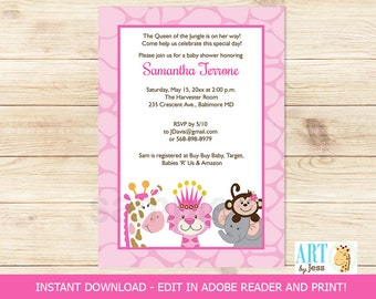 Jungle Friends Girl Baby Shower Invitatons, Giraffe, Tiger, Elephant, Monkey DIY Invitations Editable Text   INSTANT DOWNLOAD Print your Own