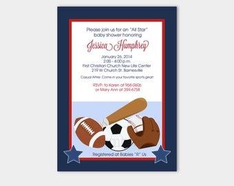 All Stars Sports Navy Red Baseball, Football, Soccer Boy Baby Shower Invitations PRINTABLE bs-019
