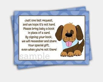 Handsome Puppy Dog Boy Baby Shower Book Request Enclosure Cards | Puppy Shower INSTANT DOWNLOAD bs-106