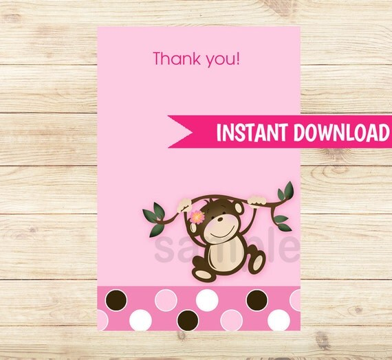 monkey play pink girl matching flat card thank you note size 4x6