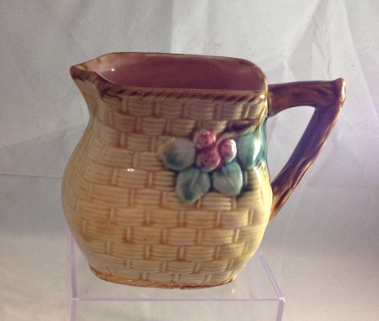 How To Make A Basket Weave Effect : Ceramic basket weave effect jug milk cream
