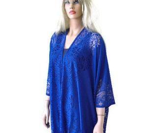 Boho Lace Kimono cardigan-Rich Cobalt blue-royal blue-Oversize kimono -summer kimonos-Oversized kimonos