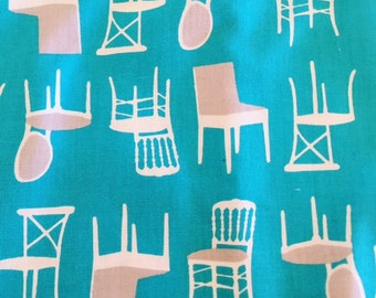 Perfectly Perched Laurie Wisbrun  for Robert Kaufman Aqua Chairs    1 yard left