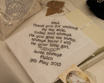 Personalised Men's Handkerchief, Any Message Embroidered, Personalised Father of the Bride Gift, Long Message or Poem, Basic Handkerchief