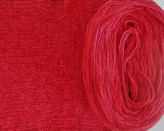 RED SILK HEATHER -- Sport Weight -- Silk/Cotton/Merino yarn (100 gr /320 yards)