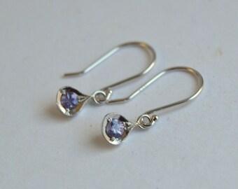 Purple Sapphire Earrings, White Gold Dangly Earrings, 14 kt Gold Earrings, Sapphire Earrings, Purple Sapphire Earrings, September Birthstone