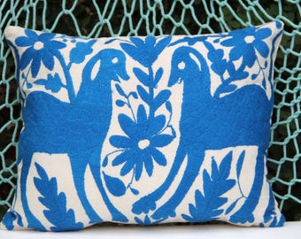 Turquoise blue Folk Art Pillow Sham-Otomi Embroidery Ready to ship.