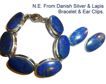 NE From Sterling Silver & Lapis Modernist Bracelet and Earrings. Denmark Circa 1960s. Danish Silver by Nils Erik From. Substantial Weight.