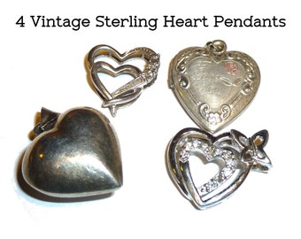 Four Vintage Sterling Silver Heart Pendants for your Projects. Locket, Puffy Heart, Floating Hearts. Various Makers and Ages. Valentines Day