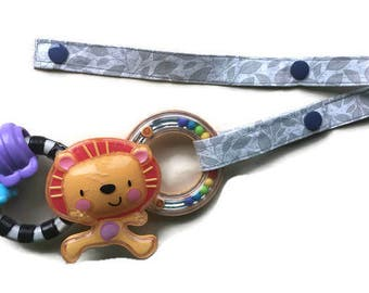 Toy Leash, Sippy Cup Strap, Pacifier Saver -- Gray Leaves