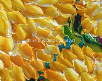 Dahlia painting, Yellow  Oil Painting,  Impasto Painting  Home Decor Wall Decor