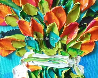 Tulips, oil painting, original painting, mothers day