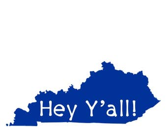 Kentucky Hey Y'all note cards digital download A4 sized blue state