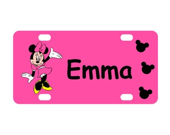 Pink Minnie Mouse Personalized Mini License Plate-Bike Plate-Kid's Door Sign