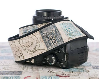 dSLR Camera Strap, Vintage French Postage, Paris, Postage Stamps, Script, Camera Neck Strap, Canon Nikon, Pocket, SLR, 202 a