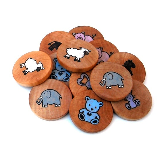 Wooden Memory Game | Animals | Matching Game | Montessori Toy | Natural Wooden Toy | Gifts for Toddlers | Preschool Toys | Make a Match