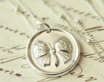 Butterfly Wax Seal Necklace - Fine Silver, Sterling Silver