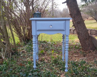 Cottage Nightstand Vintage Wood Bedside Painted in Dove Grey Table Poppy Cottage Painted Furniture