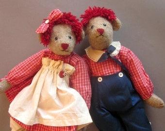 Raggedy Ann Andy Bear Dolls Plush Toys Stuffed Bear