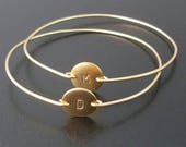 Mother's Day from Son, Daughter, Kids, Set of 2 Personalized Bracelets with Initials on Front, Optional Secret Stamping on Back, Mom Jewelry
