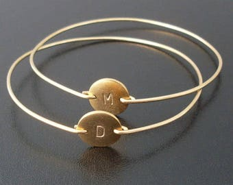 Personalized Initial Bracelets, Set of 2, Monogram Jewelry, Bridesmaid Gift Idea, Custom Bangles
