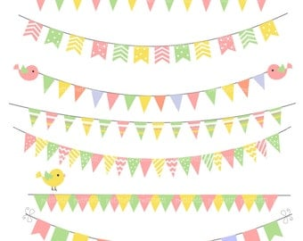 ON SALE bunting Digital Clip art ,flags banner clip art, invitations, card making, scrapbooking ,summer ,printable , Instant Download