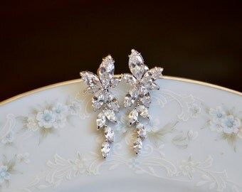 Cubic zirconia flower cluster dangle wedding earrings, sparkling earrings, flower bridal post earrings