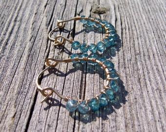 Blue topaz and gold wire wrapped hoop earrings, genuine gemstone earrings, blue topaz jewelry