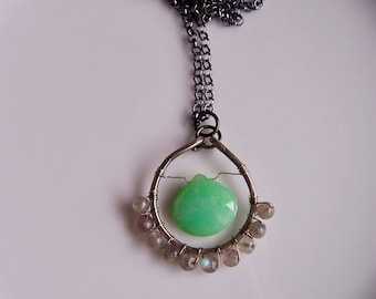 Chrysoprase and labradorite oxidized sterling silver necklace pendant, chrysoprase jewelry, labradorite jewlery
