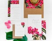 JESSICA SUITE // Tropical Wedding Invitation, Bougainvillea, Tropical Invitation, Botanical, Beach Wedding, Palm, Desintation, Azalea
