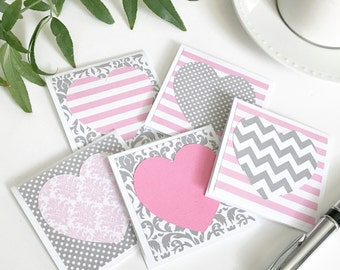Pink & Grey heart Mini Note Cards  - Set of 5 - with white Envelopes - Valentines Day card with heart - All Occasion Card Gift Set