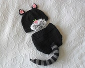 Hand Knitted Baby HAT and  DIAPER COVER, Black Cat Baby Beanie and matching diaper cotton Newborn Knitted Baby Hat Baby Beanie