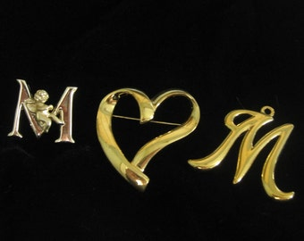 Vintage M O M Gold Tone Pin Initial M with Angel, Modern Heart and Pendant, Jewelry Collection of Three