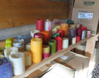 35+ pounds new to gently used pillar, tapers, tea lights, and votives