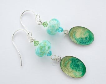 Monet earrings, lampwork earrings, aqua earrings, green earrings, hand painted, sterling silver, water earrings, nature inspired, art