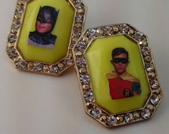 Blingy Batman and Robin Earrings, Neon Adam West and Burt Ward