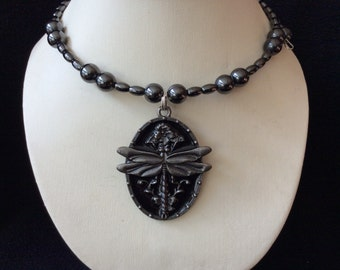 Dragonfly hand beaded magnetic hematite memory wire choker necklace