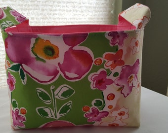 Fabric Organizer Basket Storage Bin Container Fabric  - Green with Pink Big Flowers