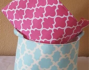 Fabric Organizer Basket Storage Bin Container  - Pink Garden Tarika or Aqua Garden Tarika