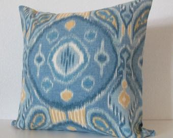 Pillow Cover - Designer Fabric - Thom Filicia - Kimmel Ocean - blue - Yellow - Medallion - Cushion Cover